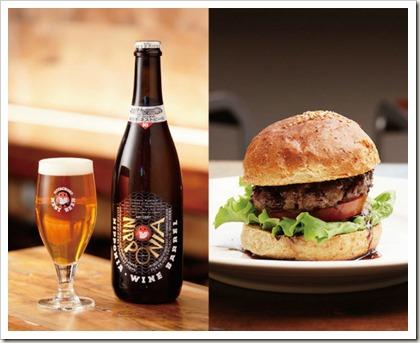 常陸牛バーガーとボトルビール