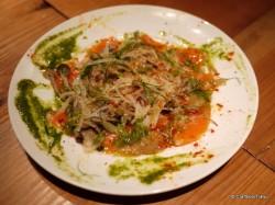 キノコとサーモンの前菜